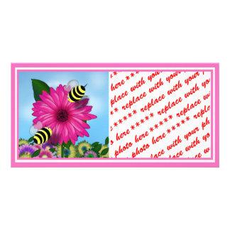 Cartoon Honey Bees Meeting on Pink Flower Photo Greeting Card