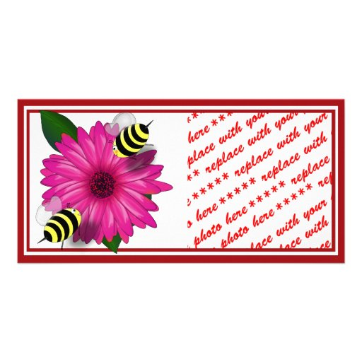 Cartoon Honey Bees Meeting on Pink Flower Personalized Photo Card