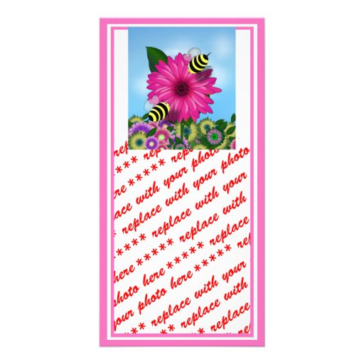 Cartoon Honey Bees Meeting on Pink Flower Custom Photo Card