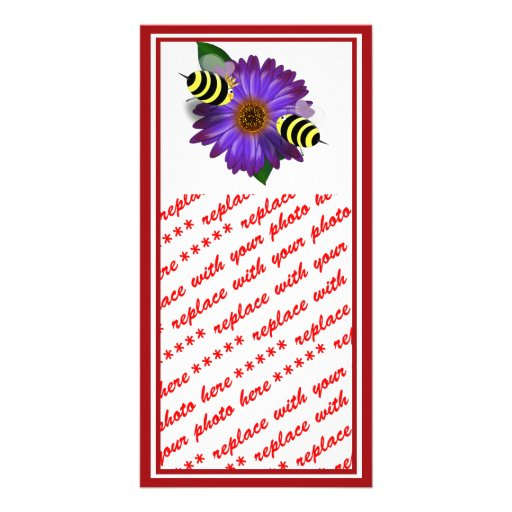 Cartoon Honey Bees Meeting on Purple Flower Photo Greeting Card