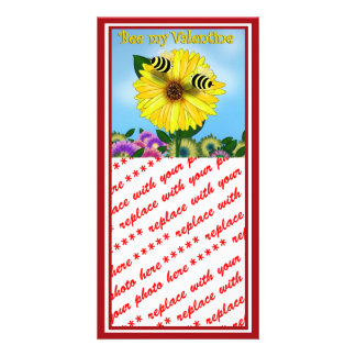Cartoon Honey Bees Meeting on Yellow Flower Personalized Photo Card