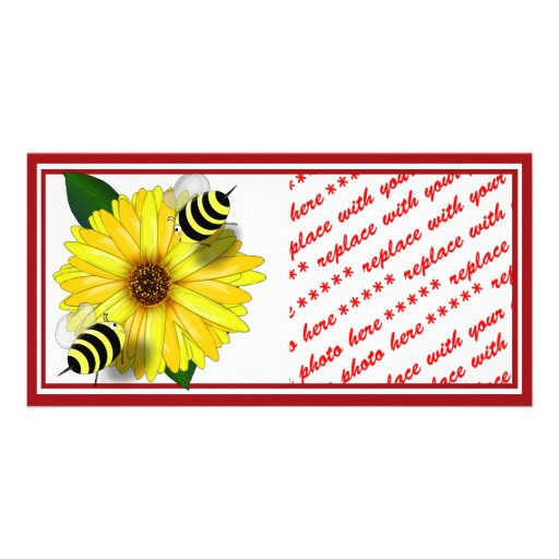 Cartoon Honey Bees Meeting on Yellow Flower Picture Card