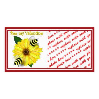 Cartoon Honey Bees Meeting on Yellow Flower Photo Cards