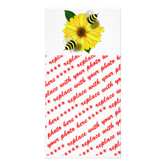 Cartoon Honey Bees Meeting on Yellow Flower Photo Cards
