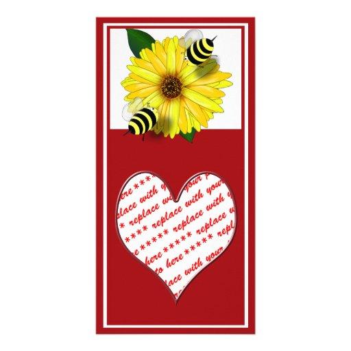 Cartoon Honey Bees Meeting on Yellow Flower Custom Photo Card