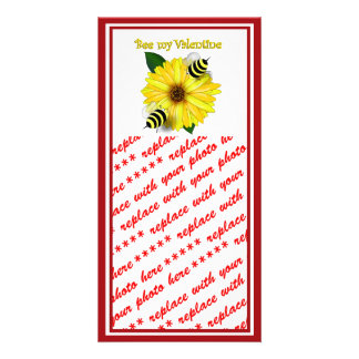 Cartoon Honey Bees Meeting on Yellow Flower Photo Greeting Card