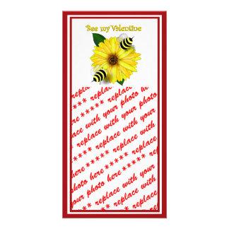Cartoon Honey Bees Meeting on Yellow Flower Photo Greeting Card