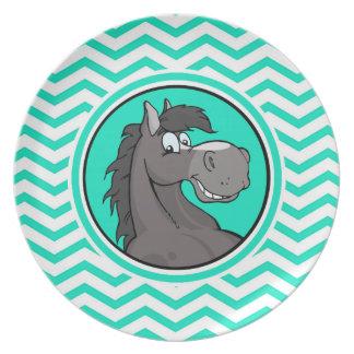Cartoon Horse Aqua Green Chevron Dinner Plate