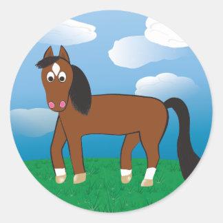 Cartoon Horse Bay with white socks Classic Round Sticker