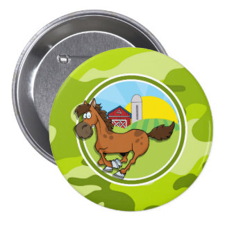 Cartoon Horse bright green camo camouflage Buttons