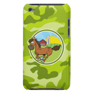 Cartoon Horse bright green camo camouflage Barely There iPod Cases