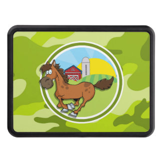 Cartoon Horse; bright green camo, camouflage Trailer Hitch Cover