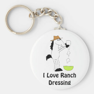 Cartoon Horse With Ranch Dressing Basic Round Button Keychain