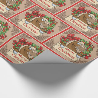 Cartoon Horse With Wreath  Merry Christmas Sign Wrapping Paper