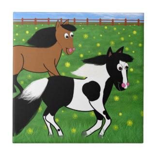 Cartoon Horses Running in Field Ceramic Tile