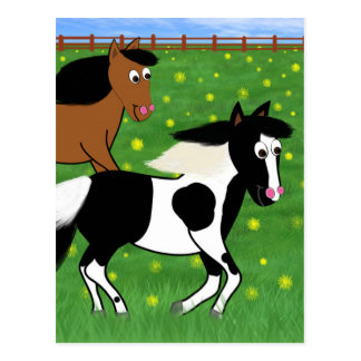 Cartoon Horses Running in Field Postcard