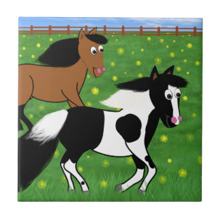 Cartoon Horses Running in Field Tile
