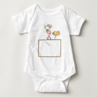 Cartoon Hotdog Chef Above Sign Baby Bodysuit