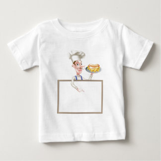 Cartoon Hotdog Chef Above Sign Baby T-Shirt