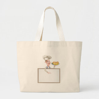 Cartoon Hotdog Chef Above Sign Large Tote Bag