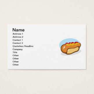 CARTOON HOTDOG HOT DOG KETCHUP RELISH MAYO MUSTARD BUSINESS CARD