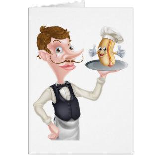Cartoon Hotdog Waiter Card