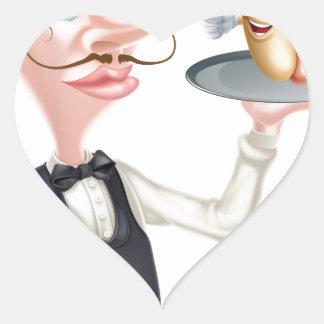 Cartoon Hotdog Waiter Heart Sticker
