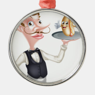 Cartoon Hotdog Waiter Metal Ornament