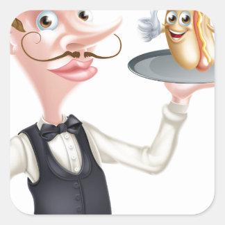 Cartoon Hotdog Waiter Square Sticker