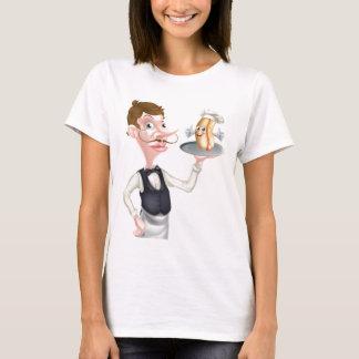Cartoon Hotdog Waiter T-Shirt