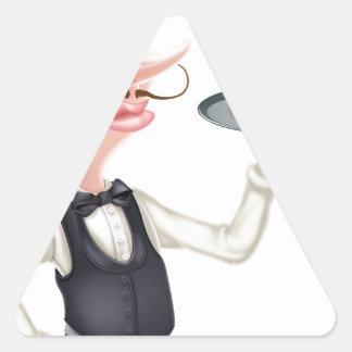 Cartoon Hotdog Waiter Triangle Sticker