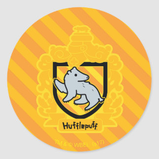Cartoon Hufflepuff Crest Classic Round Sticker