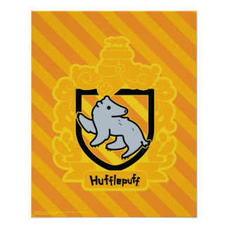 Cartoon Hufflepuff Crest Poster
