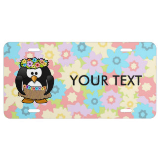 Cartoon Hula Penguin With Flowers License Plate