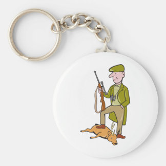 Cartoon Hunter With Rifle Standing on Deer Basic Round Button Keychain