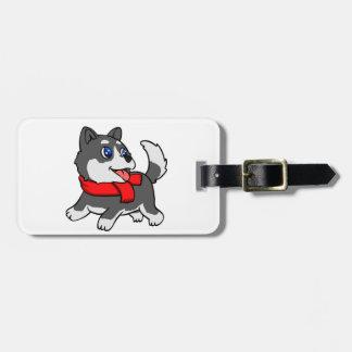 Cartoon husky puppy with scarf luggage tag