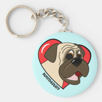 Cartoon I Love my Bullmastiff Keychain
