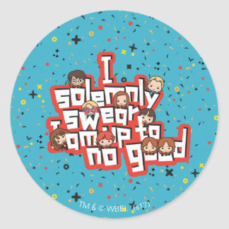 "Cartoon ""I solemnly swear"" Graphic Classic Round Sticker"