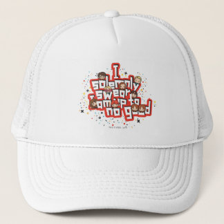 "Cartoon ""I solemnly swear"" Graphic Trucker Hat"