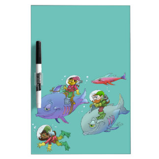 Cartoon illustration Gnomes and there fish friends Dry-Erase Board