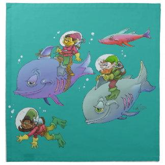 Cartoon illustration Gnomes and there fish friends Napkin