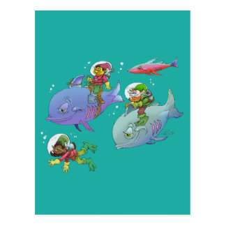 Cartoon illustration Gnomes and there fish friends Postcard