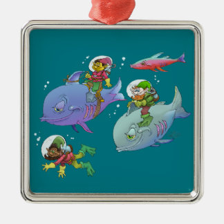 Cartoon illustration Gnomes and there fish friends Silver-Colored Square Ornament