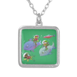 Cartoon illustration Gnomes and there fish friends Silver Plated Necklace