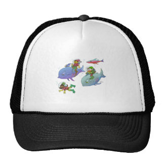 Cartoon illustration Gnomes and there fish friends Trucker Hat