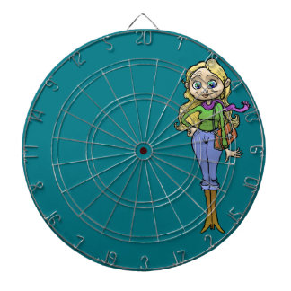 Cartoon illustration of a beautiful woman. dart board