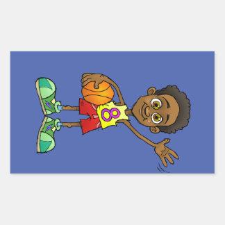Cartoon illustration of a boy holding a ball.