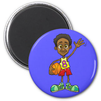 Cartoon illustration of a boy holding a ball. 2 inch round magnet