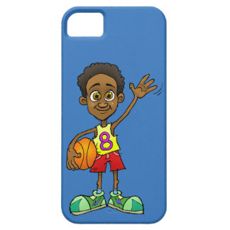 Cartoon illustration of a boy holding a ball. iPhone 5 case