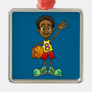 Cartoon illustration of a boy holding a ball. Silver-Colored square ornament